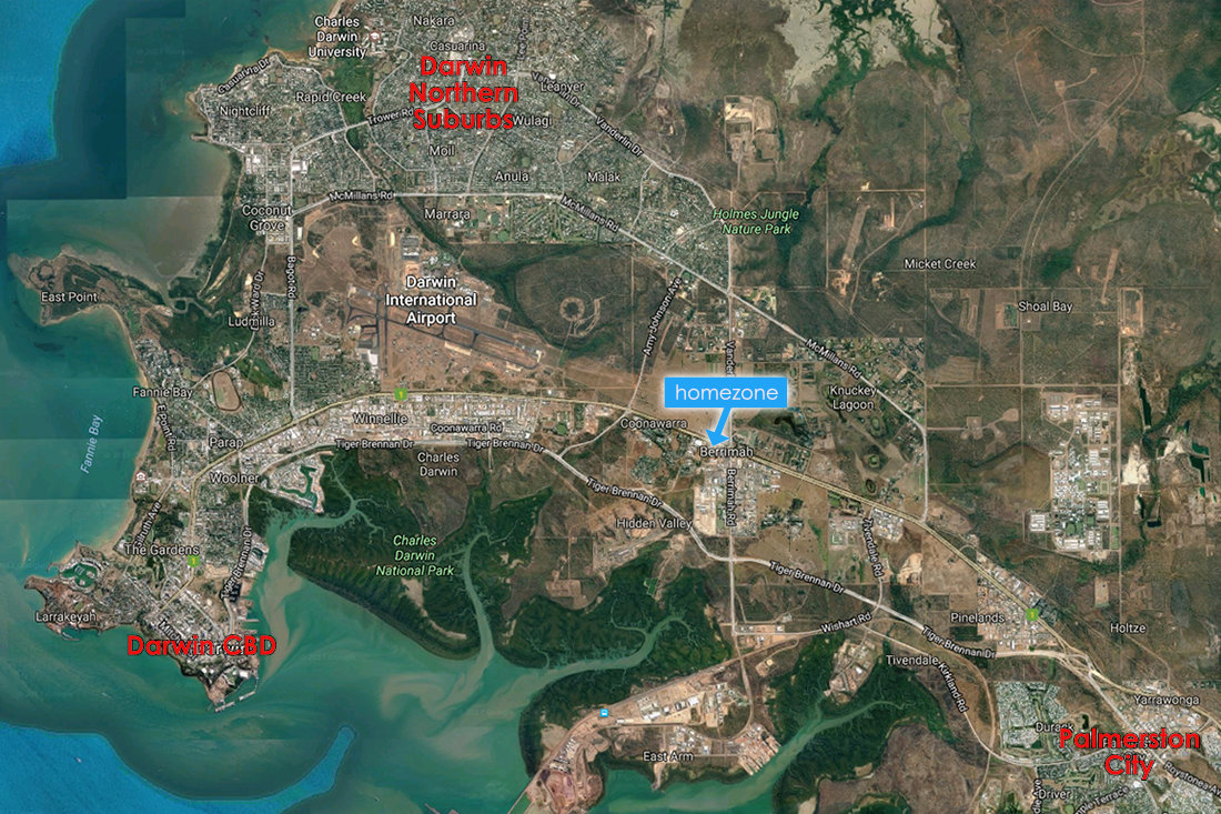 homezone satellite location showing position between darwin, palmerston and northern suburbs